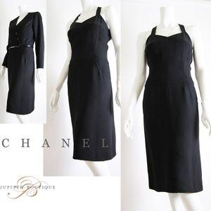 Chanel Black Classic Non Sleeve Dress & Jacket Set
